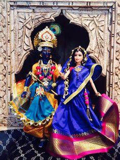 Oh my many Gods!  Radha Krishna Gopi Dolls customized Barbie and Ken by GopiDesigns on Etsy!