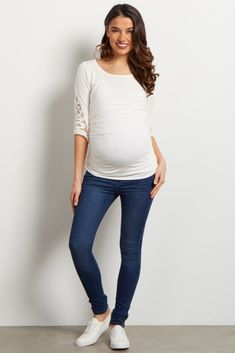 43f1c67561 Navy Blue Stretch Maternity Skinny Jean Cute Maternity Outfits