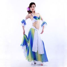 女性パフォーマンス ベリー ダンサー服3 ピース衣装ブラジャー 、 スカート フル サークル で袖腕章ベリー ダンス衣装オリエンタル