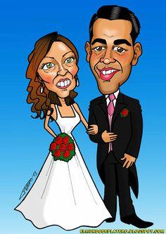 Caricaturas de novios a color con vestidos personalizados, ideales para decorar las invitaciones de tu boda.