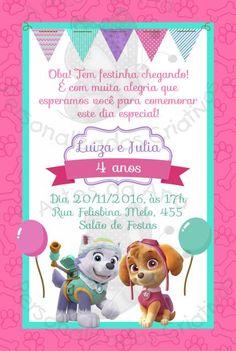 Convites Patrulha Canina modelo cartão rosa e azul Paw Patrol Cake, Paw Patrol Birthday, Cumple Paw Patrol, 4th Birthday, Party Themes, Invitations, Paw Patrol Decorations, Doll Party, Paw Patrol Skye