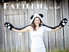 free crochet patterns for teens | Panda Hood with Scarf and Bear Paws Crochet PDF Pattern