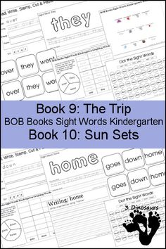 Early Reading Printables BOB Books Sight Words Kindergarten Book 9 & 10 - sight words: over, they, went, goes, down, home - 3Dinsoaurs.com