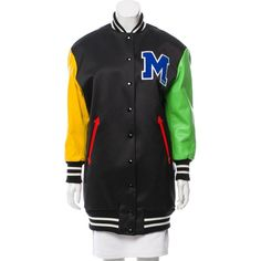 Pre-owned Moschino Couture Leather-Trimmed Varsity Jacket ($1,475) ❤ liked on Polyvore featuring outerwear, jackets, black, leather trim jacket, snap jacket, boucle jacket, moschino jacket and varsity bomber jacket
