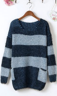 Splicing wide stripes large pockets mohair loose sweaters blue #Ahaishopping