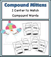 Compound Mittens - Freebie! Free reading center, Compound Mittens! This freebie has students matching mittens to make compound words. A total of 9 compound words are included in this set.