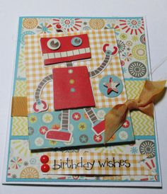 Birthday Wishes With The Robot Handmade by LoveInBloomCreations, $3.00
