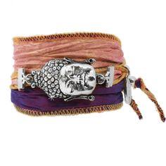 Anisch Amulett Armband Silver Violet Buddha aus Vintage-Saris