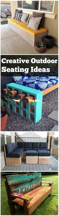 Outdoor Seating Ideas Creative Outdoor Seating Ideas- great DIY projects, ideas and tutorials for outdoor seating.Creative Outdoor Seating Ideas- great DIY projects, ideas and tutorials for outdoor seating. Bar Outdoor, Outdoor Seating, Outdoor Spaces, Outdoor Living, Outdoor Decor, Reception Seating, Wedding Seating, Outdoor Fire, Backyard Projects