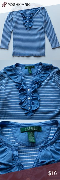"""Ralph Lauren Blue/white striped w/ruffled collar Ralph Lauren Blue/white striped ribbed t-shirt with 3/4 length sleeves and a ruffled collar.  Size S/P. 100% cotton. Chest = 31"""" Shoulder = 15"""" Sleeve length = 18.25"""" Length = 22"""" If you have any questions, please be sure to let me know and don't forget to bundle with another item for a discount! :) Lauren Ralph Lauren Tops Tees - Long Sleeve"""