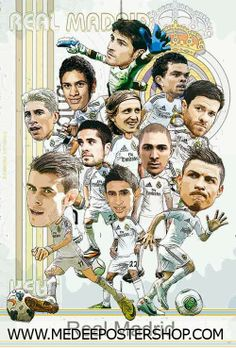 Real Madrid Cartoon Poster 2014