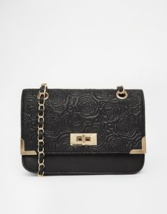 New Look Rose Quilted Bag with Chain Straps
