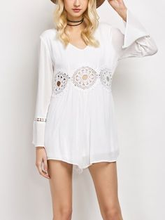 SHARE & Get it FREE | Lacework Panel V Neck Romper - WhiteFor Fashion Lovers only:80,000+ Items • New Arrivals Daily Join Zaful: Get YOUR $50 NOW!