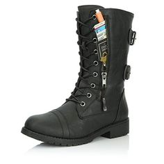 DailyShoes Women's Ankle Bootie High Lace up Military Combat Mid Calf Credit Card Knife Money Wallet Pocket Boots Military Combat Boots, Black Combat Boots, Mid Calf Boots, Military Shoes, Women's Shoes, Shoe Boots, Golf Shoes, Bootie Boots, Shoes Style