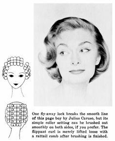 1960s Hairstyling Curling Pattern. Yep, every night I slept in curlers.