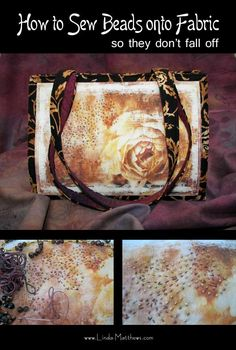 How to Sew Beads onto Fabric so they don't fall off   Linda Matthews: Textile Art & Design