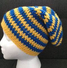 e0e90f82018501 Crochet Golden State Warriors Inspired Slouchy by CrochetMagazin Crochet  Beanie, Crochet Hats, Knit Crochet
