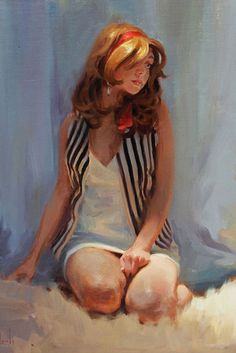 """Red Ribbon"" - Kim English, oil on canvas {contemporary figurative artist beautiful blonde female seated woman painting #loveart} Cute !!"