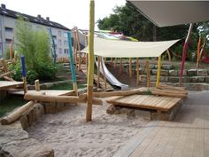 "Interesting Addition of Color to ""Natural"" Playscape 