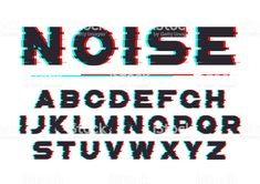 Decorative bold font with digital noise, distortion, glitch effect. Web Design, Logo Design, Graphic Design, 3d Letters, Bold Fonts, Sale Banner, Text Effects, Glitch, Typography Design