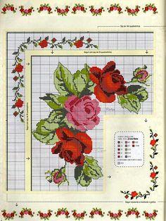 tovaglia con rose punto croce2