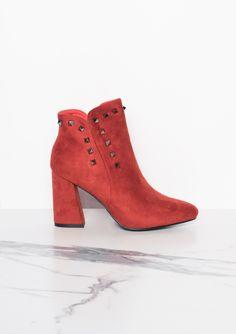 39b19e0b79fa Missyempire - Wenda Rust Studded Ankle Boots Studded Ankle Boots, Block  Heels, Rust