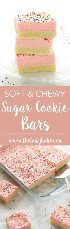 Soft and Chewy Sugar Cookie Bars.  These Soft and Chewy Sugar Cookie Bars feature a tender sugar cookie base topped with fluffy frosting and sprinkles!