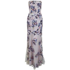 Preowned 1990's Giorigo Armani Beaded Lavender Floral Strapless... ($1,600) ❤ liked on Polyvore featuring dresses, gowns, purple, formal gowns, backless gown, purple evening dresses, formal dresses and beaded evening gowns