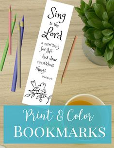 Sing to the Lord a new song, for he has done marvelous things. >>Free Printable Bookmarks<< Print and color these beautiful scripture bookmarks.
