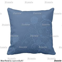 Blue Floral Throw Pillow #decor #pillows