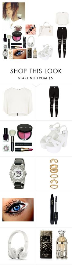 """""""Day in Paris w/ Leigh"""" by rosemie ❤ liked on Polyvore featuring Goldie, Bobbi Brown Cosmetics, Topshop, Hello Kitty, Forever 21, Lancôme, Lipsy, MICHAEL Michael Kors, littlemix and blackandwhite"""