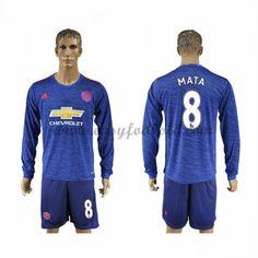 Fodboldtrøjer Premier League Manchester United 2016-17 Mata 8 Udebanetrøje Langærmede