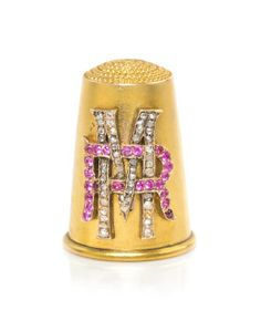 A Diamond and Ruby-Mounted Russian Gold Thimble, Height 7/8 inch.