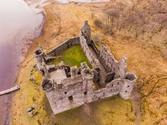 Kilchurn Castle empty shell from above on the banks of Loch Awe, Argyll.