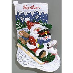 @Overstock - Janlynn sewing and quilting  kit makes a great Christmas stocking  maybe L's stocking  Printed acrylic felt creates festive, beaded, sled-with-Santa hanging  Crafts and sewing project sure to bring smiles to the recipienthttp://www.overstock.com/Crafts-Sewing/Janlynn-Felt-Applique-Christmas-Stocking-Kit/3665258/product.html?CID=214117 $18.99