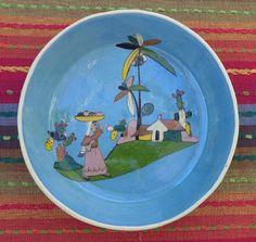"""Old vintage Mexican Tlaquepaque tourist pottery blue bowl 8 5/8"""" dlam x 1 3/4"""""""