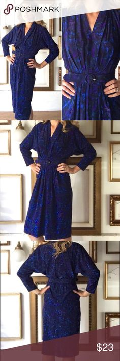 """Vintage 80s Blue Purple V-Neck Belted Dress This 80s dress (shoulder pads removed for your convenience) is so flattering. It features a pretty purple, blue, and black print, matching belt, knee length skirt, and a deep v-neck.  Tagged size 6, fits like 6.  Great vintage condition, no rips, tears, or stains.  Dimensions: Shoulder to shoulder - 16"""" Bust - 32"""" Waist - 26"""" Hips - 38"""" Length - 44"""" Willi Dresses Midi"""