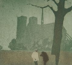 Tavík František Šimon (Czech, 1877-1942), Nokturno Notre Dame, 1916. Šimon's style was strongly influenced by the French Impressionists and, perhaps through them, by Japanese printmaking techniques, in particular color aquatints with soft ground etching.