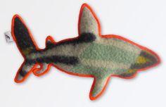 Retro/ vintage wollen deken haai met neon oranje rand