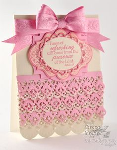 layers of pink filligree paper