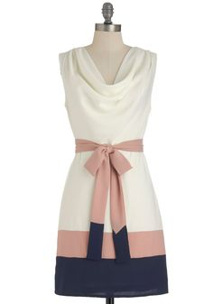 Lines of Poetry Dress - Mid-length, Blue, Pink, White, Color Block, Party, Sheath / Shift, Sleeveless, Spring, Belted