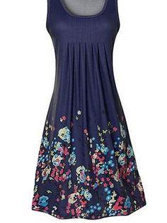5dc653c7766 Women's Daily Holiday Street chic Loose Dress - Floral Print Purple Fuchsia  Light Blue M L XL