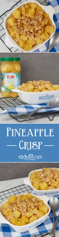 Simple to make, this Pineapple Crisp is a tasty anytime treat. Combine drained Pineapple Chunks, oats, and brown sugar into bowl and stir together. Microwave on high until heated through and enjoy!
