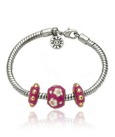 Take a look at this Gold & Hot Pink Flower Slide Bracelet on @zulily today!