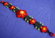 Mexican Huichol Beaded flower bracelet by Aramara on Etsy, $10.95