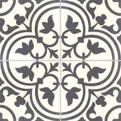 Carreau de ciment Premium Normandie noir/blanc #carreauDeCiment