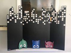 PJ Mask printable masks and skyline backdrop photo booth