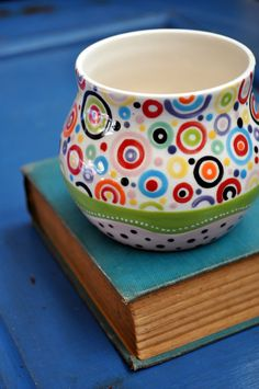 Colorful Pottery Bud Vase Whimsical Circles  small by chARiTyelise