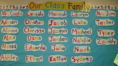 Rainbow names to create on the first day of school. Can be put up on the word wall as well. Beginning Of The School Year, First Day Of School, Back To School, School Stuff, Bulletin Board Tree, Kindergarten Rocks, Chalk Talk, Name Activities, Writing Programs