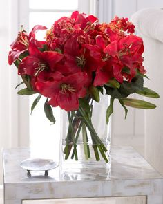 Beautiful Botanicals by John-Richard. Lush red day lilies and hydrangea add a pop of color to any room.